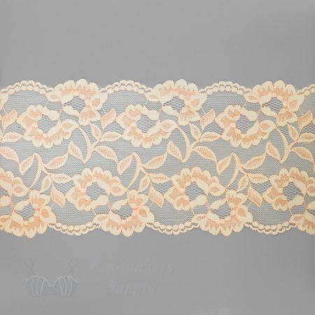 stretch laces - 5 inch - 13 cm five inch peach dark peach floral stretch lace LS-63 3632 from Bra-Makers Supply